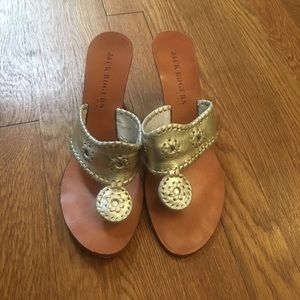 Jack Rogers High Wedge Silver Sandals Size 8